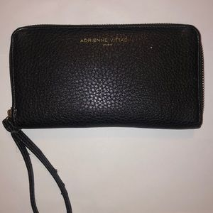Large black leather wallet w/charger inside
